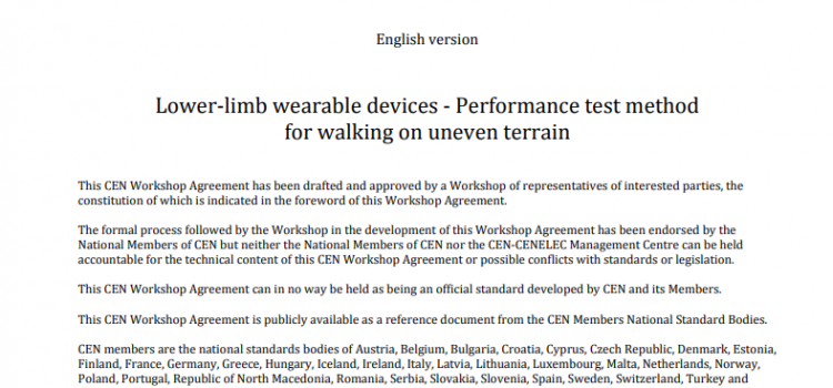 Publication of CWA 17664:2021 Lower-limb wearable devices – Performance test method for walking on uneven terrain